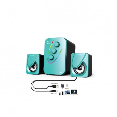 Ecco 2 RGB Usb Powered Speaker with Aux Line In