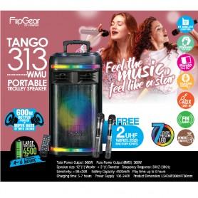 Tango 313 WMU Portable Trolley Bluetooth Speaker Free 2 UHF Wireless Mic